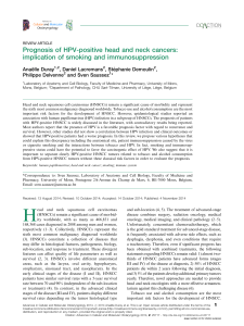 Prognosis of HPV-positive head and neck cancers: Anae¨lle Duray , Daniel Lacremans