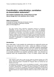Coordination, subordination, corrélation ou énonciation autonome?
