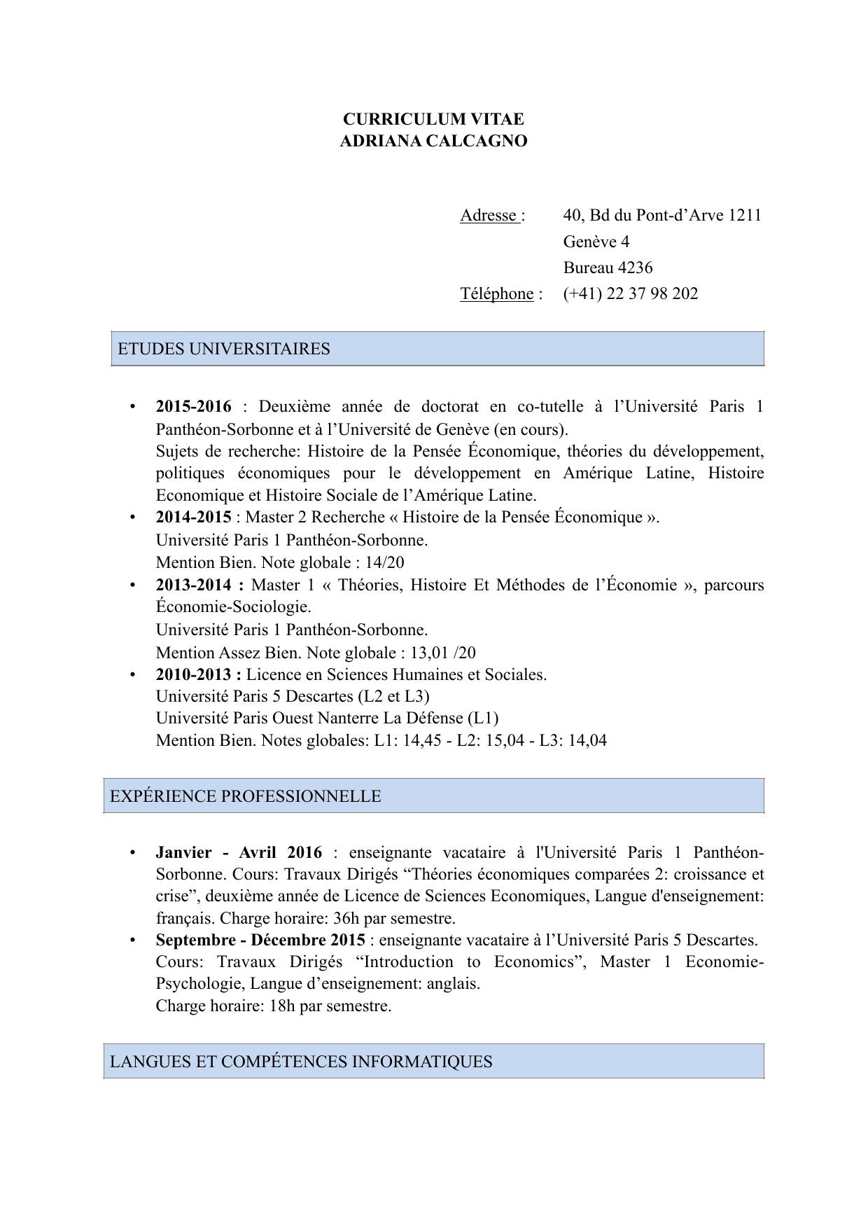curriculum vitae adriana calcagno adresse 40 bd du pont darve 1211