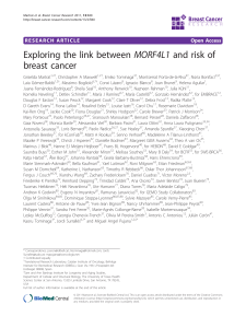 Exploring the link between MORF4L1 and risk of breast cancer Open Access