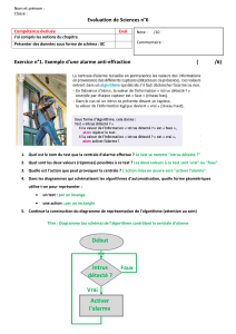 Evaluation de Sciences n°6 Exercice n°1. Exemple d'une alarme anti-effraction