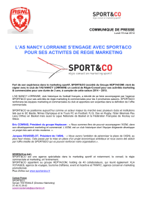 'AS NANCY LORRAINE S'ENGAGE AVEC SPORT&CO L