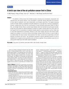 A bird's eye view of the air pollution-cancer link in... Yu-Bei Huang , Feng-Ju Song , Qun Liu