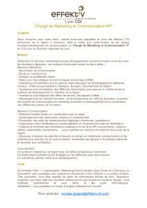 CDI Chargé de Marketing et Communication H/F