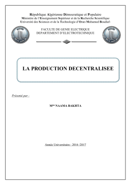 LA PRODUCTION DECENTRALISEE R M U
