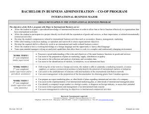 BACHELOR IN BUSINESS ADMINISTRATION – CO-OP PROGRAM INTERNATIONAL BUSINESS MAJOR