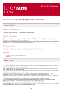CentreCnamParis Fonction marketing amont et processus d'innovation PRÉSENTATION Public et conditions d'accès