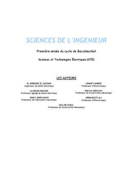 SCIENCES DE L'INGENIEUR P r e