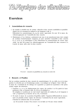 Exercices 1    Associations de  ressorts