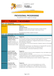 PROVISIONAL PROGRAMME DAY 1 | TUESDAY, 7 NOVEMBER