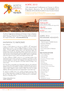 AORTIC 2015 10th International Conference on Cancer in Africa KEY DATES