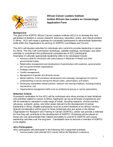 African Cancer Leaders Institute Institut Africain des Leaders en Cancérologie Application Form