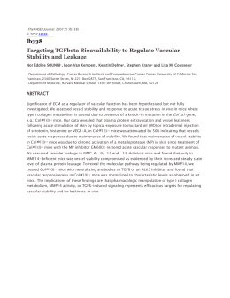 lb338 Targeting TGFbeta Bioavailability to Regulate Vascular Stability and Leakage