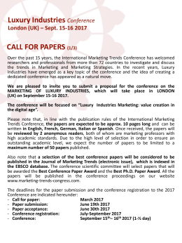 Luxury Industries CALL FOR PAPERS  Conference