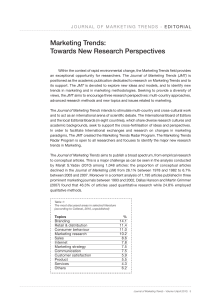 Marketing Trends: Towards New Research Perspectives