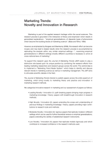 Marketing Trends: Novelty and Innovation in Research
