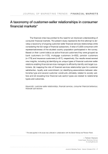 A taxonomy of customer-seller relationships in consumer financial markets*