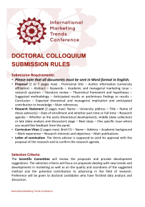 DOCTORAL COLLOQUIUM SUBMISSION RULES Submission Requirements: •