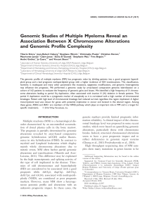 Genomic Studies of Multiple Myeloma Reveal an and Genomic Profile Complexity