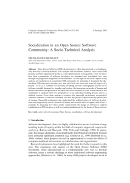 Socialization in an Open Source Software Community: A Socio-Technical Analysis NICOLAS DUCHENEAUT