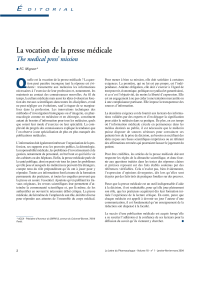 La vocation de la presse médicale É The medical press' mission