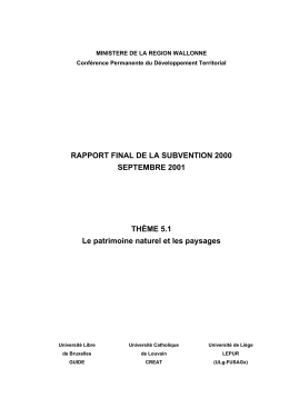 RAPPORT FINAL DE LA SUBVENTION 2000 SEPTEMBRE 2001  THÈME 5.1