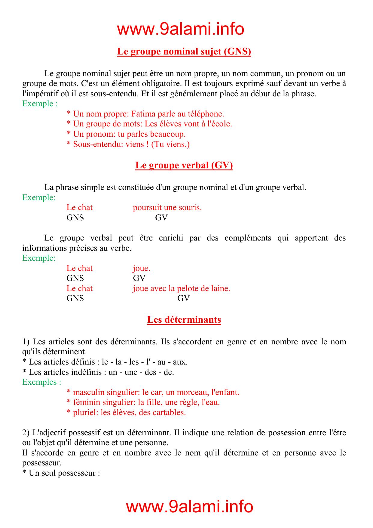 www.9alami.info Le groupe nominal sujet (GNS)