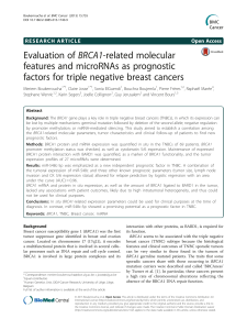 BRCA1-related molecular Evaluation of features and microRNAs as prognostic