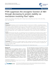 PTEN suppresses the oncogenic function of AIB1 mechanism involving Fbw7 alpha