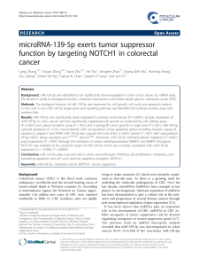 microRNA-139-5p exerts tumor suppressor function by targeting NOTCH1 in colorectal cancer