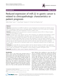 Reduced expression of miR-22 in gastric cancer is patient prognosis
