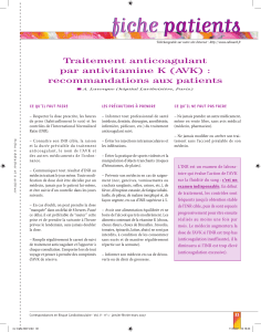 fiche patients fiche patients Traitement anticoagulant