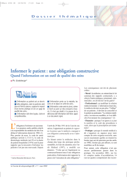 Informer le patient : une obligation constructive Points forts