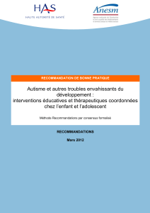 recommandations autisme ted enfant adolescent interventions