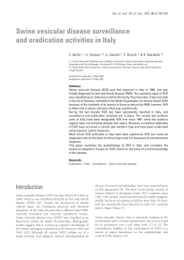 Swine vesicular disease surveillance and eradication activities in Italy S. Bellini