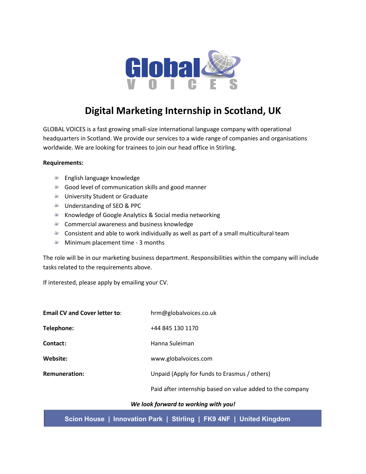 Digital Marketing Internship in Scotland, UK
