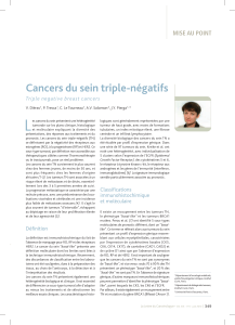 L Cancers du sein triple-négatifs MISE AU POINT Triple negative breast cancers