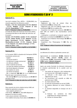 SERIE D'EXERCICES (T.D) N° 2 Exercice N° 1 :