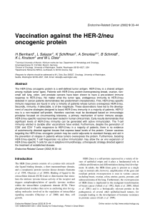 Vaccination against the HER-2/neu oncogenic protein H Bernhard K L Knutson