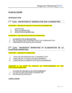 Diagnostic Marketing ISTA  PLAN DU COURS
