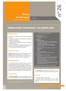 26 n° Endocardite infectieuse : les points-clés f i c h e