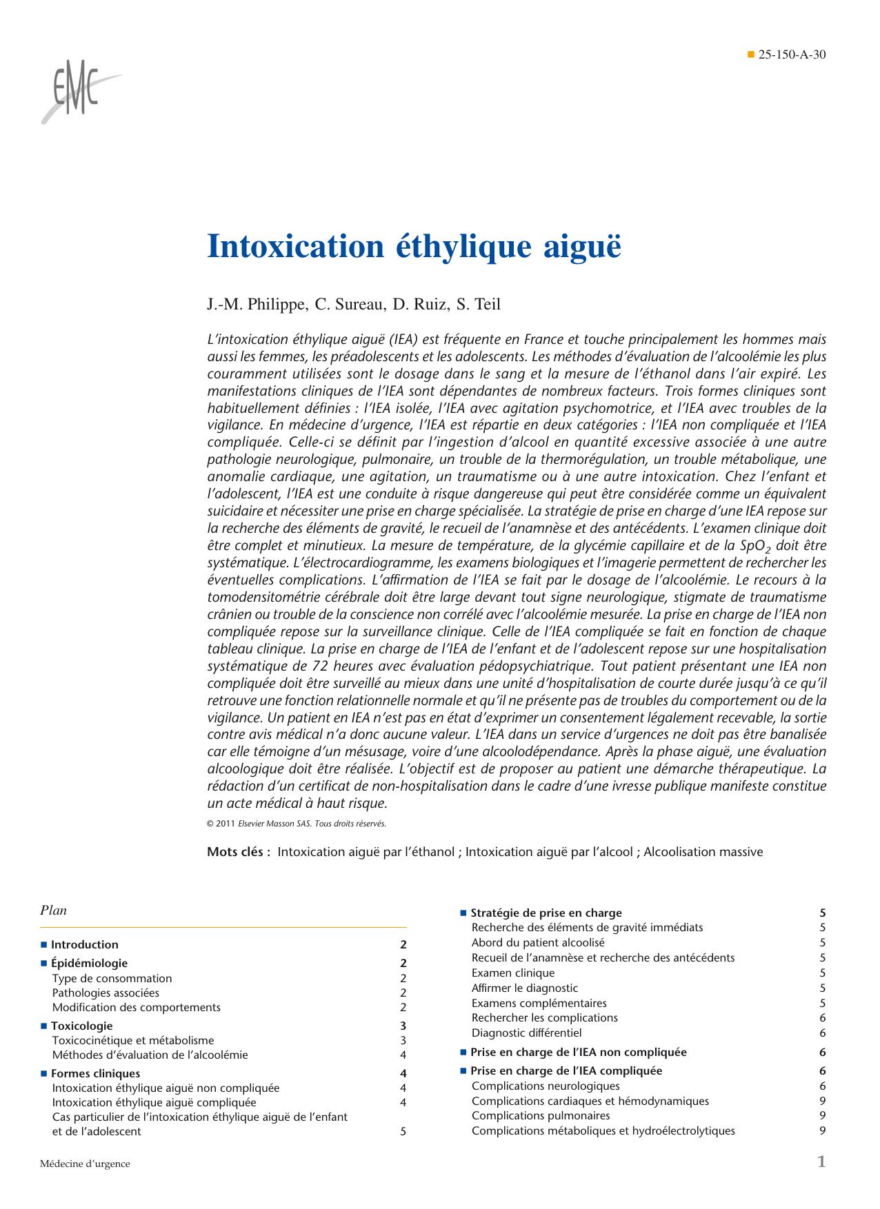 Intoxication éthylique aiguë J.-M. Philippe, C. Sureau, D. Ruiz, S. Teil