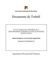 Documents de Treball Departament d'Economia de l'Empresa  PLACE MARKETING PERFORMANCE: