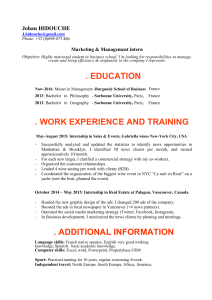 . EDUCATION . WORK EXPERIENCE AND TRAINING Johan HIDOUCHE Marketing & Management intern