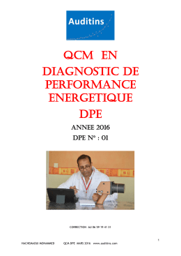 QCM  EN DIAGNOSTIC DE PERFORMANCE ENERGETIQUE