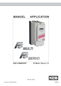 MANUEL APPLICATION KEB COMBIVERT F5-Multi / Servo 2.3 Prix 40,- Euro