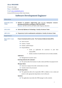 Software Development Engineer Abrar MHADHBI  Education