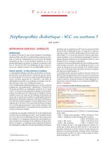 Néphropathie diabétique : EC ou sartans ? I T