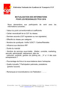 Fédération Nationale des Syndicats de Transports CGT MUTUALISATION DES INFORMATIONS
