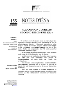 155  « LA CONJONCTURE AU SECOND SEMESTRE 2003 »